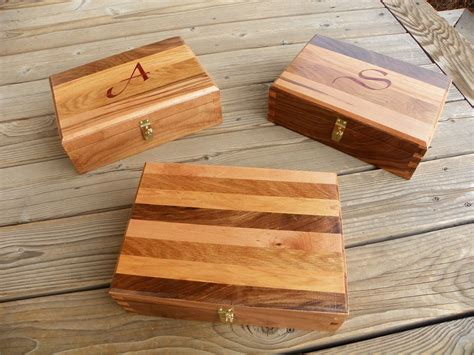 woodworking gifts for handmade dovetailed box using four wood types by