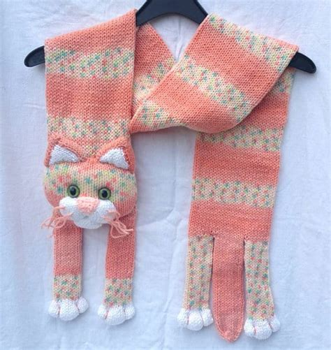 Knitted Cat Scarf Pattern Free Tutorial