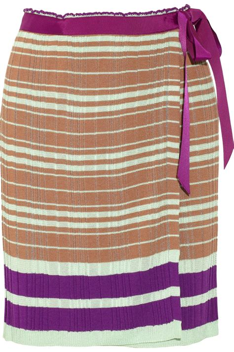 brown knit skirt m missoni stretch knit wrap skirt in brown lyst