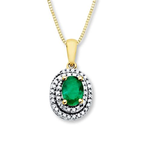 emerald necklace emerald necklace 1 6 ct tw diamonds 14k