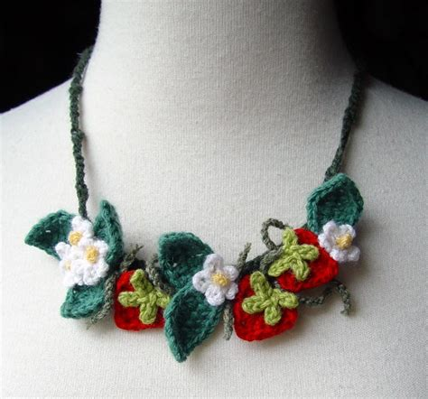 how to make a crochet necklace with crochet necklace strawberries by meekssandygirl on deviantart