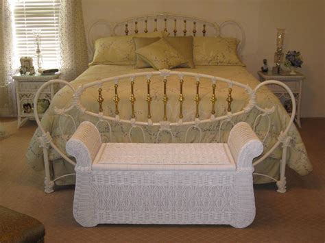 rattan wicker bedroom furniture white polished wrought iron bed frame which mixed