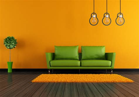 orange walls orange walls and white sofa for living room 3d