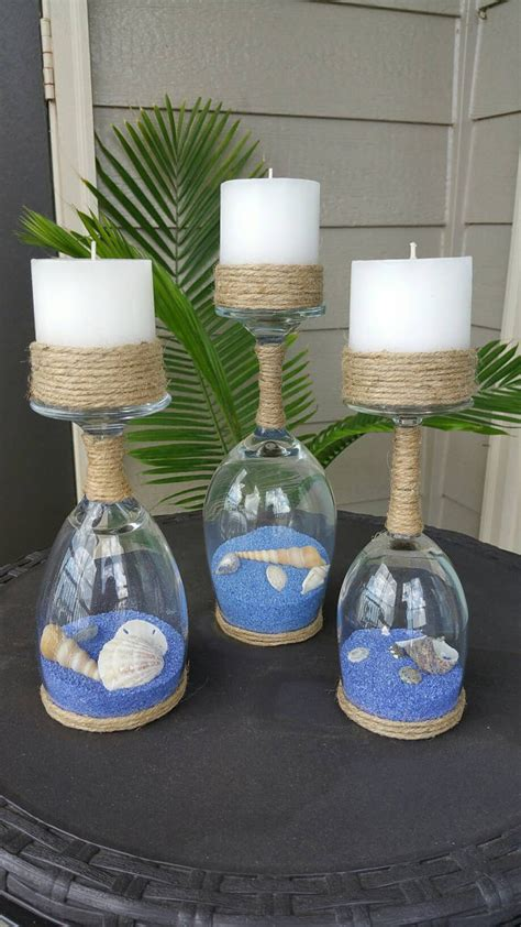 wine glass crafts seashell and sand wine glass candle holders set of 3