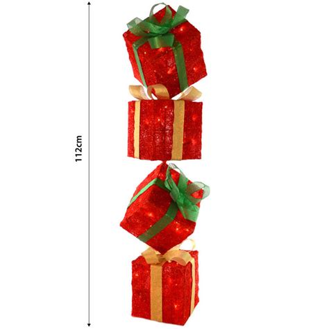 light up gift box decoration sparkly light up gift box tower standing