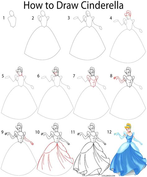 how to draw step by step how to draw cinderella step by step pictures cool2bkids