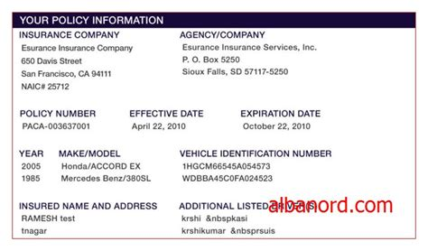 Progressive Insurance Card Template Albanord