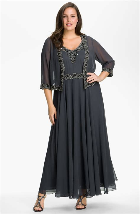 j kara beaded dress j kara beaded chiffon gown jacket in gray grey black