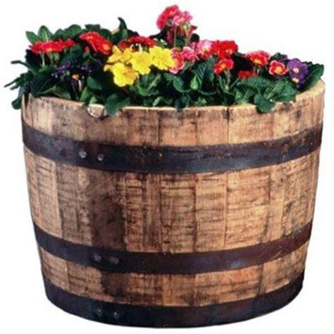 wine barrel planters home depot 25 in dia oak whiskey barrel planter b100 the home depot
