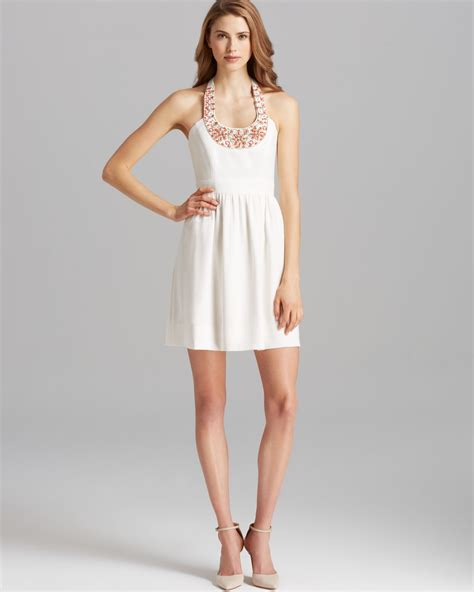 beaded neck dress shoshanna dress elenee beaded neck halter in white lyst