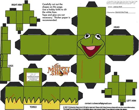 origami frog template kermit the frog papercraft toys the