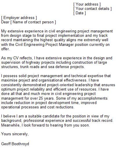 cover letter for project engineer job application cover
