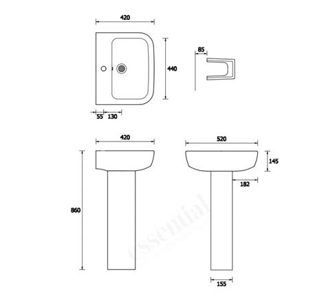 pedestal only for basin essential orchid pedestal basin only 520mm wide 1 tap