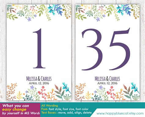 number templates for card diy printable table number card template instant