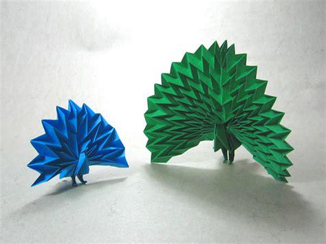paper peacock origami two peacocks jun maekawa happy folding