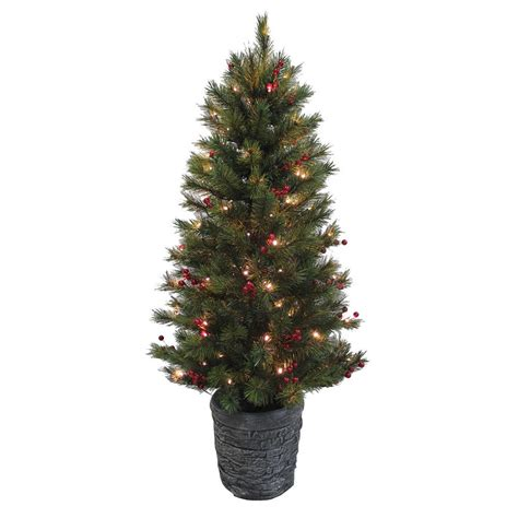 artificial lit trees 4ft pine pre lit artificial tree with berries