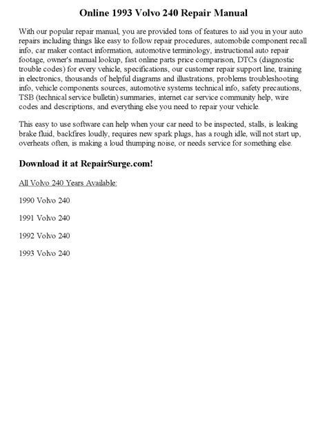 auto repair manual free download 1993 volvo 240 security system 1993 volvo 240 repair manual online by littlestar0830 issuu