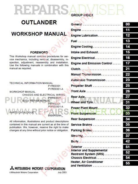 car repair manuals online free 2004 mitsubishi outlander electronic valve timing service manual 2004 mitsubishi outlander workshop manual free downloads 2004 mitsubishi