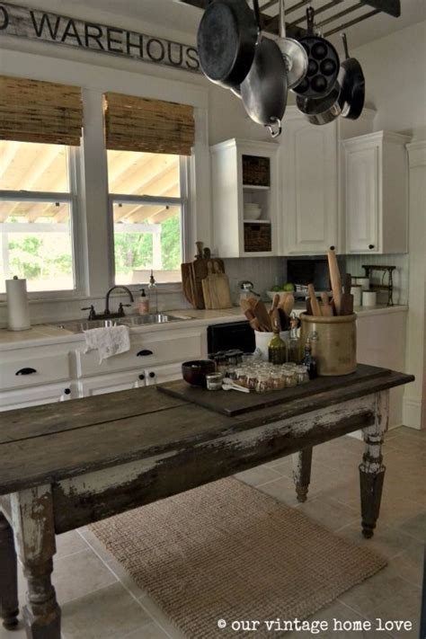 farm table kitchen island vintage home designs that will make you want to time travel
