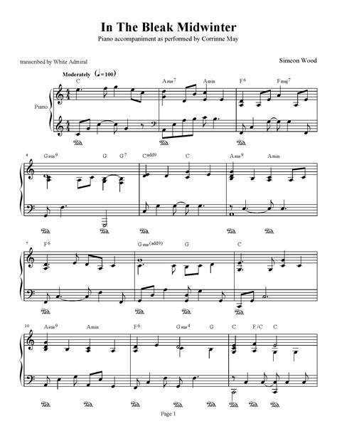 In The Bleak Midwinter   Corrinne May   Piano Accompaniment   Piano Plateau Sheet Music