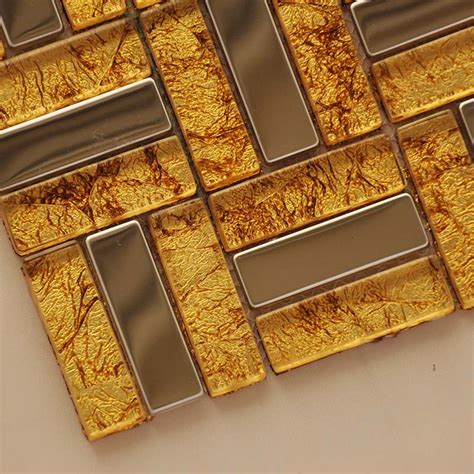 gold glass tile backsplash metal and glass tile stainless steel backsplash wall tile