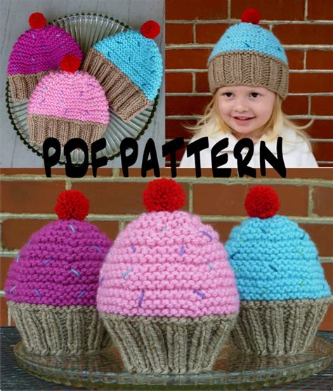 knit kid hat pattern instant cupcake hat knitting by bopeepsbonnets on