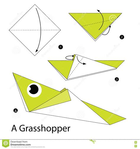 origami grasshopper step by step how to make origami a grasshopper stock vector image 73210378