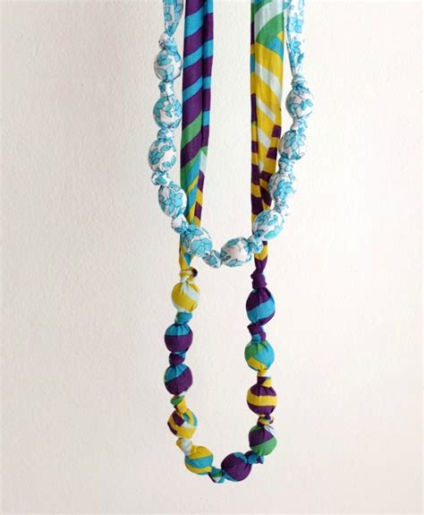 cloth bead necklace fabric covered bead necklace my poppet makes