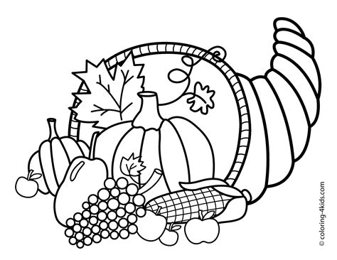 coloring book picture cornucopia coloring pages 59 for seasonal