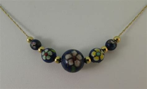 add a bead necklace vintage cloisonne and 14k yellow gold add a bead necklace 21 quot
