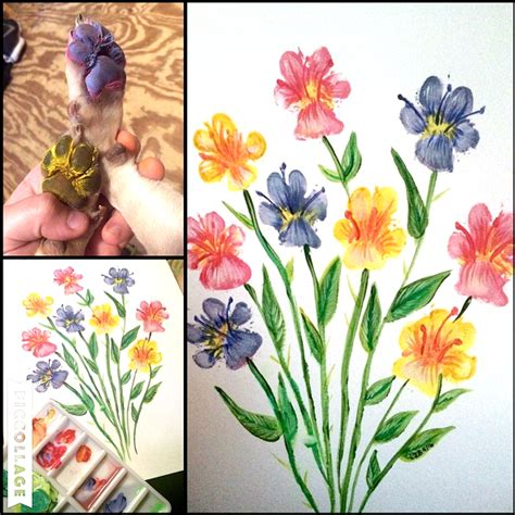 make flower painting puppy paw print flowers crafty morning