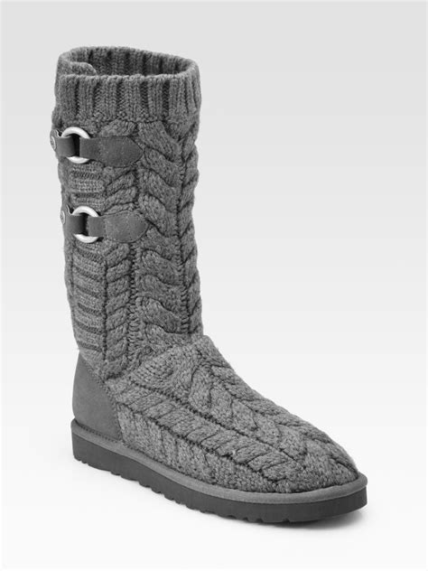 uggs grey knit boots ugg tularosa route cable knit knee high boots in gray