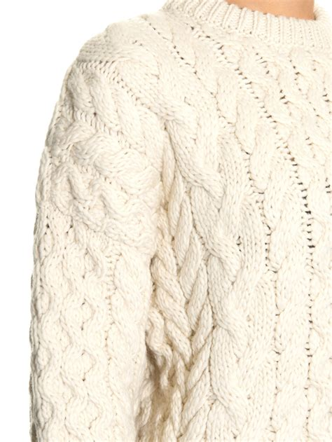 chunky cable knit joseph chunky cable knit wool sweater in white lyst