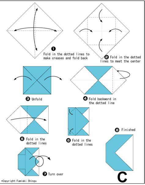 origami letter a origami alphabet c