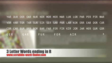 scrabble words end in v 3 letter words ending in r