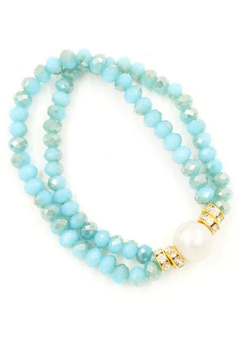 bead stretch bracelet freshwater pearl faceted bead stretch bracelet bracelets