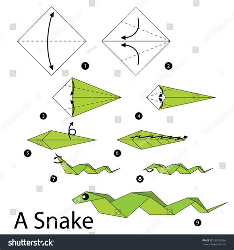 how to make an origami snake step by step how make stock vector 339563366