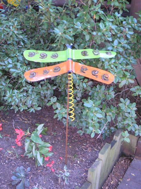 tin yard colorful tin dragonfly yard garden stake recycled metal