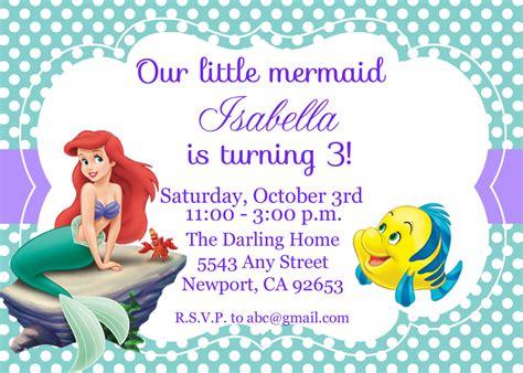 the little mermaid invitation ariel disney by