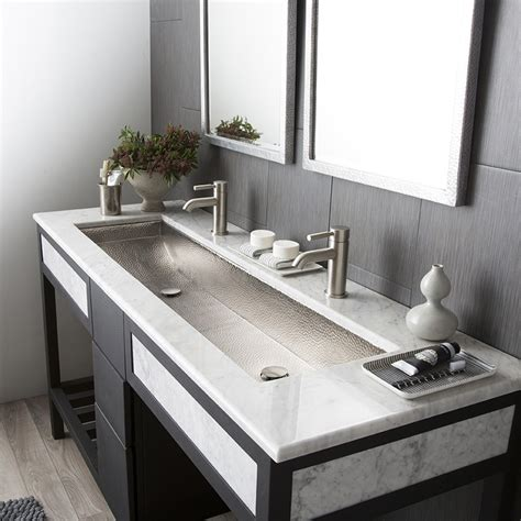Bathroom Double Sink Vanities 60 Inch by Trough 48 Double Basin Rectangular Bathroom Sink Native