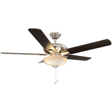 nickel ceiling fan with light hton bay springs 52 in led brushed nickel