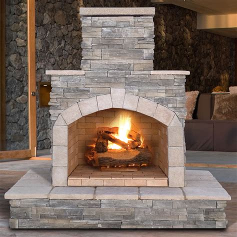 outdoor fireplace calflame propane gas outdoor fireplace