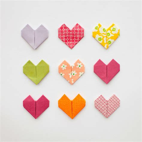 day origami diy origami hearts for valentines day paperlust