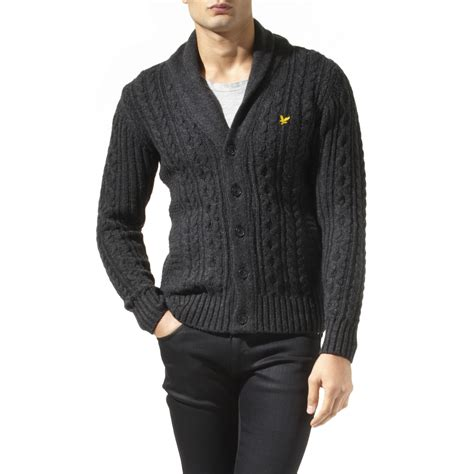 grey shawl neck cable knit cardigan lyle shawl collar cable knit cardigan in gray for