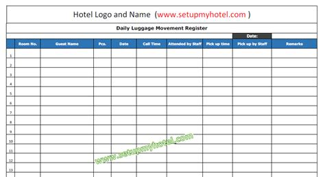 bell desk daily luggage movement register