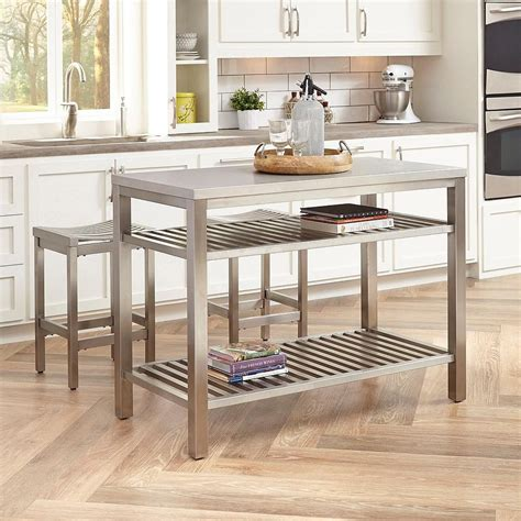 stainless steel kitchen island small stainless steel islands for the space savvy modern kitchen