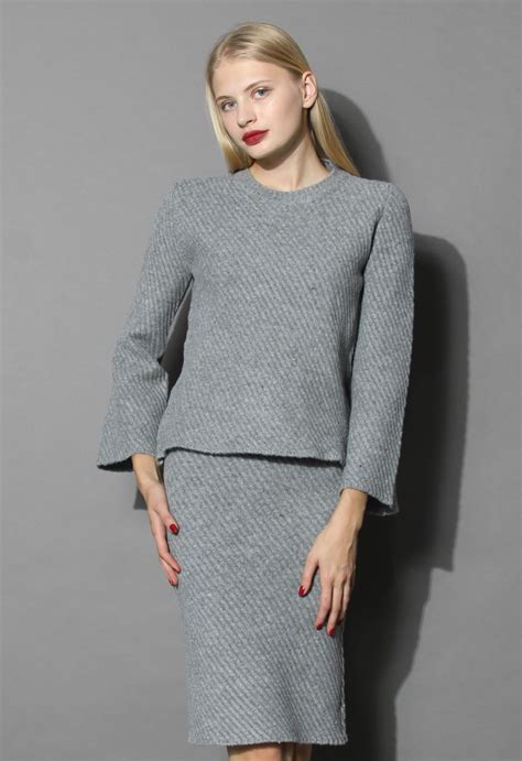 twill knit sassy grey twill knit top and skirt set retro and
