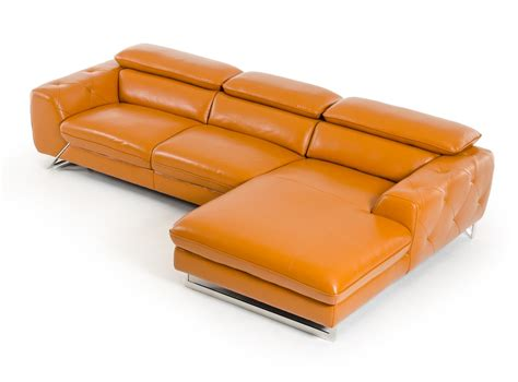 orange leather sectional sofa divani casa modern orange leather sectional sofa