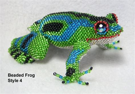 beaded frog frog beaded from guatemala 4 inches green and