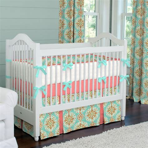 baby crib bedding for coral and aqua medallion crib bedding baby bedding